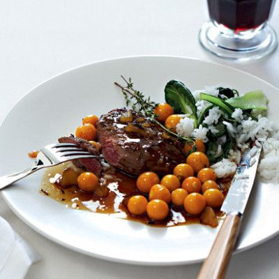Taste Mag | Pan-fried ostrich steaks with ginger and gooseberries @ http://taste.co.za/recipes/pan-fried-ostrich-steaks-with-ginger-and-gooseberries/