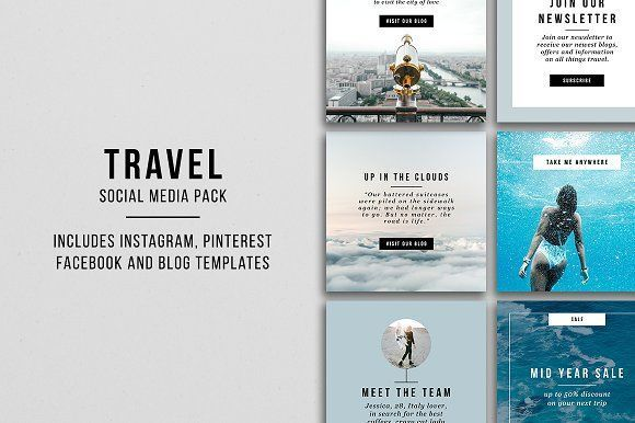 Travel Social Media Pack Social Media Pack Social Media Design Social Media Template