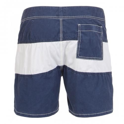 STRIPED BOARDSHORTS Striped Boardshorts featuring a fixed waist with snaps and Velcro fly, contrast stitching, a Velcro back pocket. COMPOSITION: 100% COTTON. Our model wears size 32, he is 189 cm tall and weighs 86 Kg.