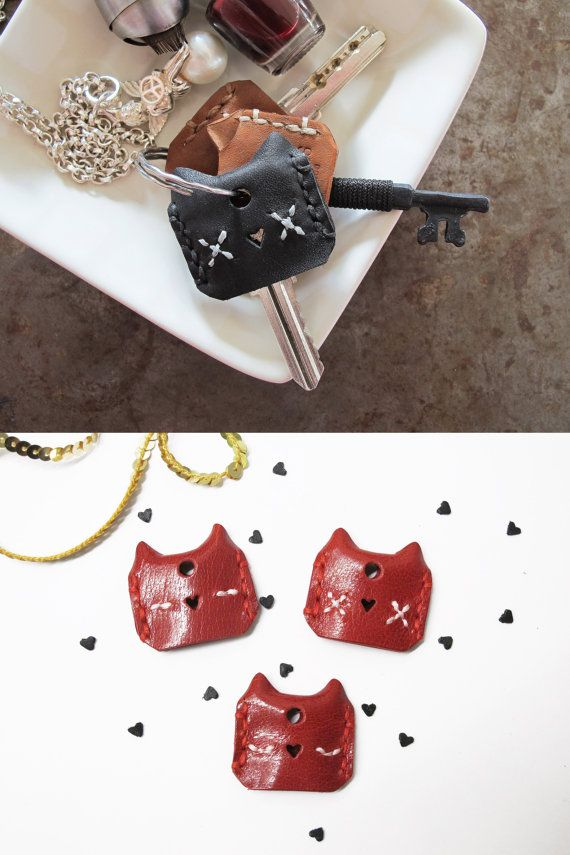 Meow Leather Cat Key Cover Set of 3 / Set of by SubconsciousCrafts