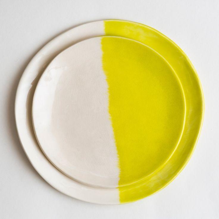 Chartreuse Yellow Dinner Plate Set #rabbitanddragon