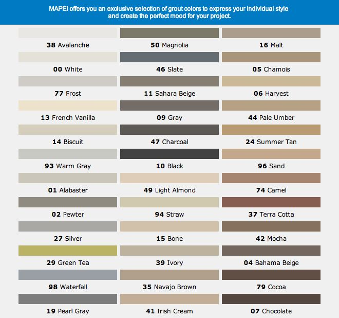 Mapai Grout Color Chart Flooring amp Tile Pinterest