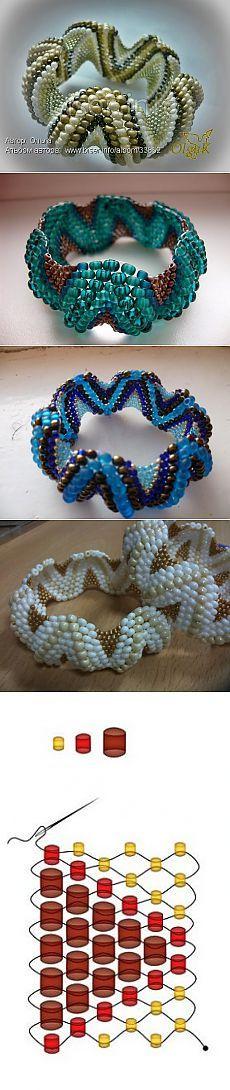 Perlen Armbänder Zickzack !!!  sehr einfach zu markieren zusammen! .