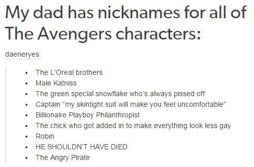 When this dad renamed them all perfectly. | 24 Times Tumblr Had Hilariously Great Ideas For The Avengers