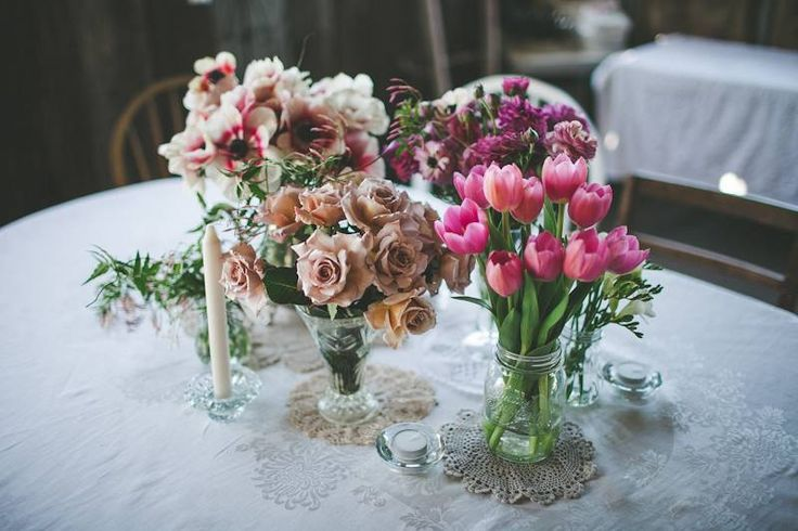 Vintage styled wedding - old glass jars make the perfect flower vases... #ivyandmoss #vintagewedding #eventstyling #wedding #boho #country #flowers