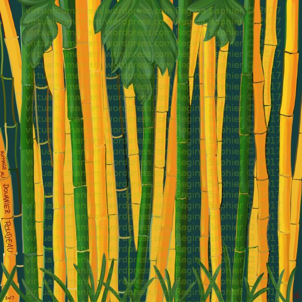 "Hommage au Douanier Rousseau - version #2 (""Golden Vivax Bamboos"") by Regina Saphier - freehand painting on digital medium-  Feb 12. 2017 (Samsung Galaxy Note Pro 12.2, ArtRage 1.1 & Sensu digital brush)"