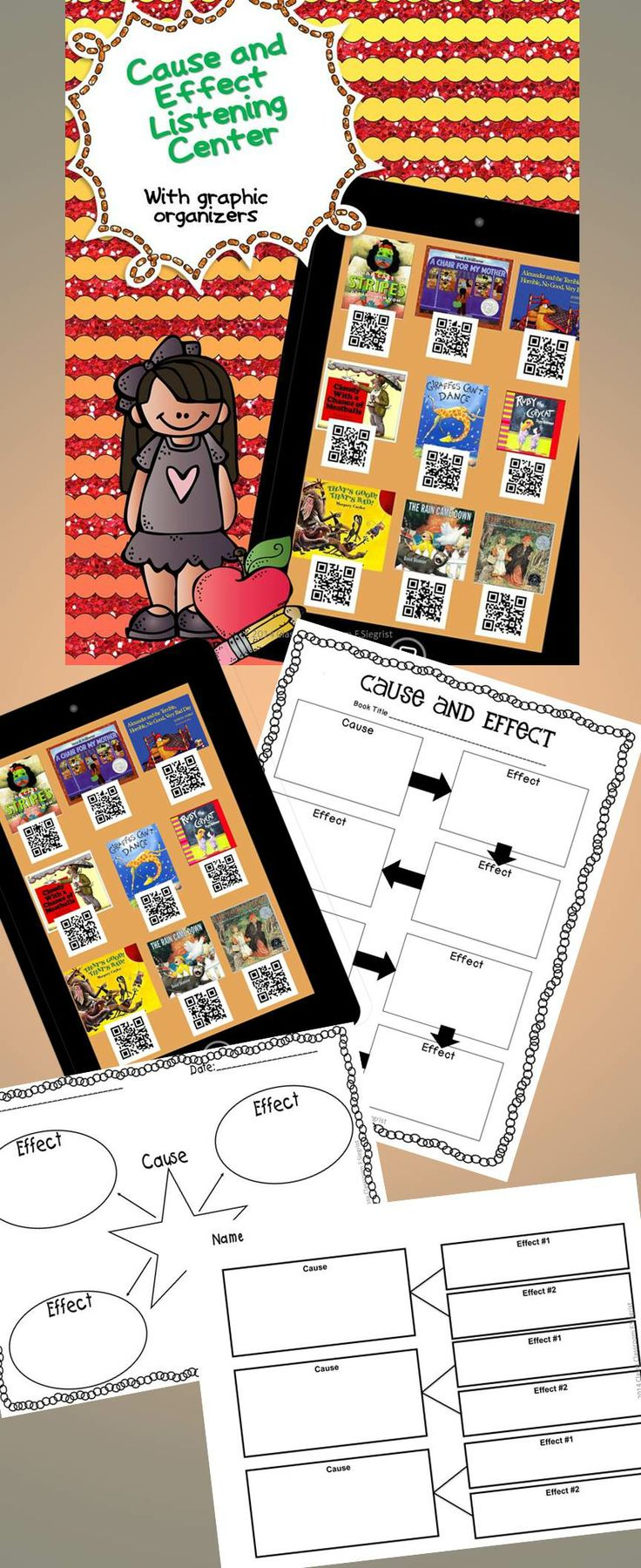 Cause and Effect Listening Center with Graphic Organizers  Great listening centers or for your early finishers!! If you are fortunate to have ipods, ipads, or tablets this is a wonderful way to practice cause and effect while listening to great books. You will need to have a QR Scanner APP downloaded on your device to make this work.