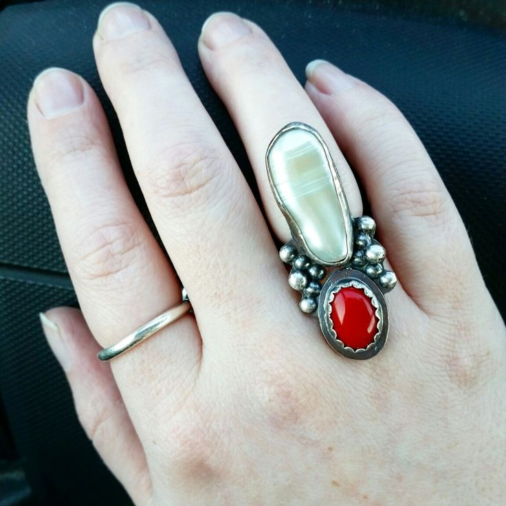 Custom-sized pearl and coral ring ! ❤
