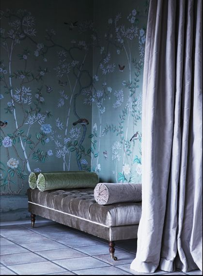 "Dreamy Space featuring a Serene Color Palette and Gorgeous de Gournay Hand-Painted Wallpaper in the ""Portobello"" design"