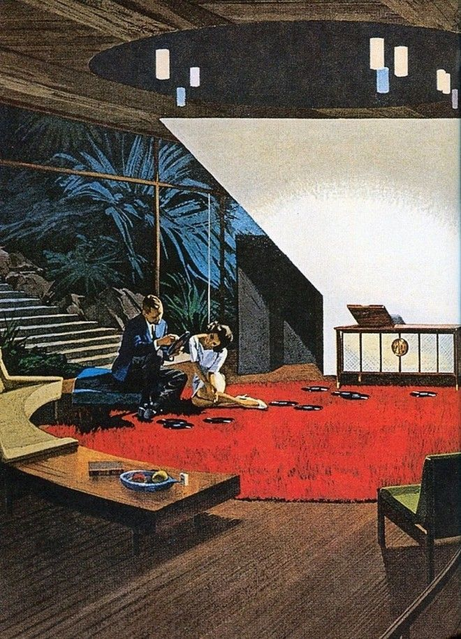 """Mid-century living room from a Motorola ad, 1960s, art by Charles Schridde. """"Hey doll, you wanna listen to my record collection in my well-shaped living room?"""" ;)"""