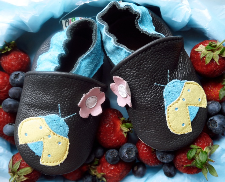 The ladybug leather softie! This delicious new style is available in sizes from 0 - 24 months/11.5-14.5 cms outer sole.