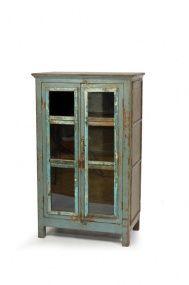 Prosklená skříňka z antik teakového dřeva, antik tyrkysová patina, 72x43x118cm | SANU BABU
