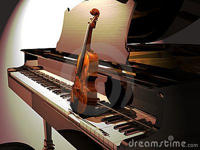 A violin on the keyboard of a piano, illuminated by a vertical projector. Announcement of a piano and violin concert.