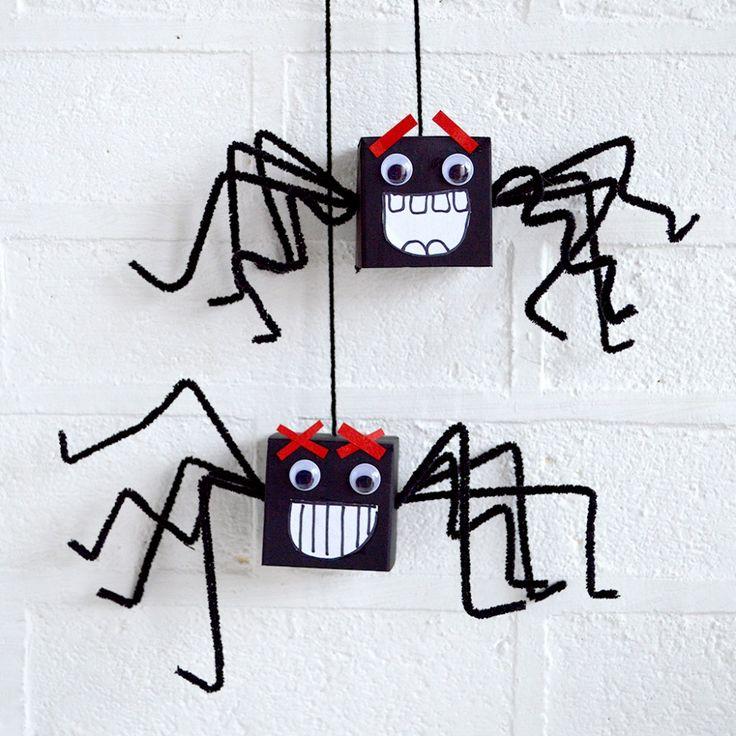 mollymoocrafts.com - Cardboard Box Spiders - halloween craft fun for kids