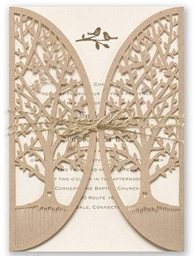 """This #weddinginvitation set is something to """"tweet"""" about! A laser-cut wrap of kraft paper features two leafy trees. Inside is a thermography #invitation with two lovebirds and your wedding wording. Add an optional jute cord to complete the look. Invitations by David's Bridal Style """"Love Is Tweet"""""""