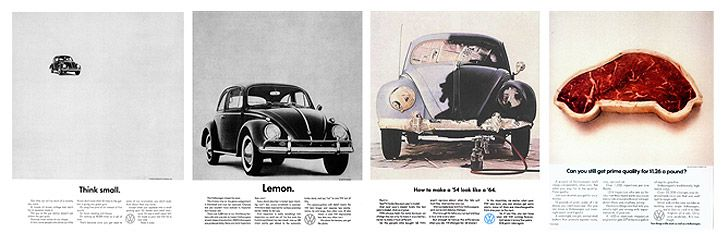 Vintage Volkswagen press adverts by Helmut Krone, a real inspiration when it comes to keeping things clean and simple!