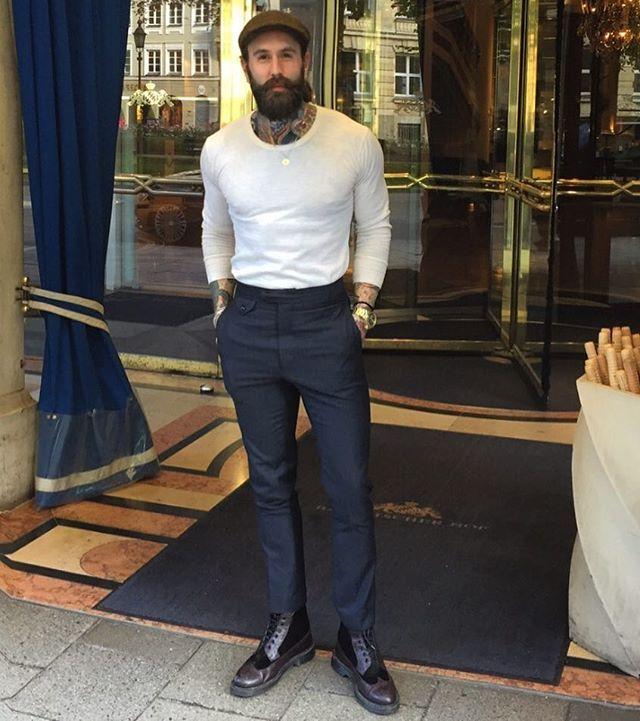 Ricki Hall - full thick dark beard mustache beads bearded man men mens' fashion clothing boots model #beardsforever
