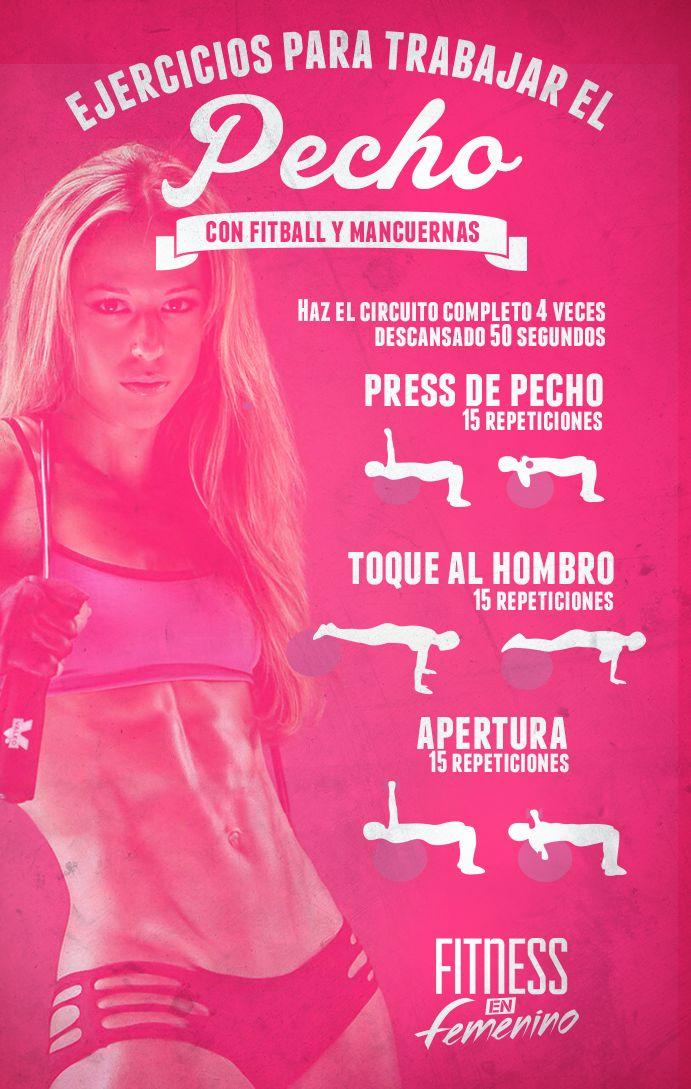 Ejercicios para trabajar el pecho con fitball y mancuernas  #fitness #woman…