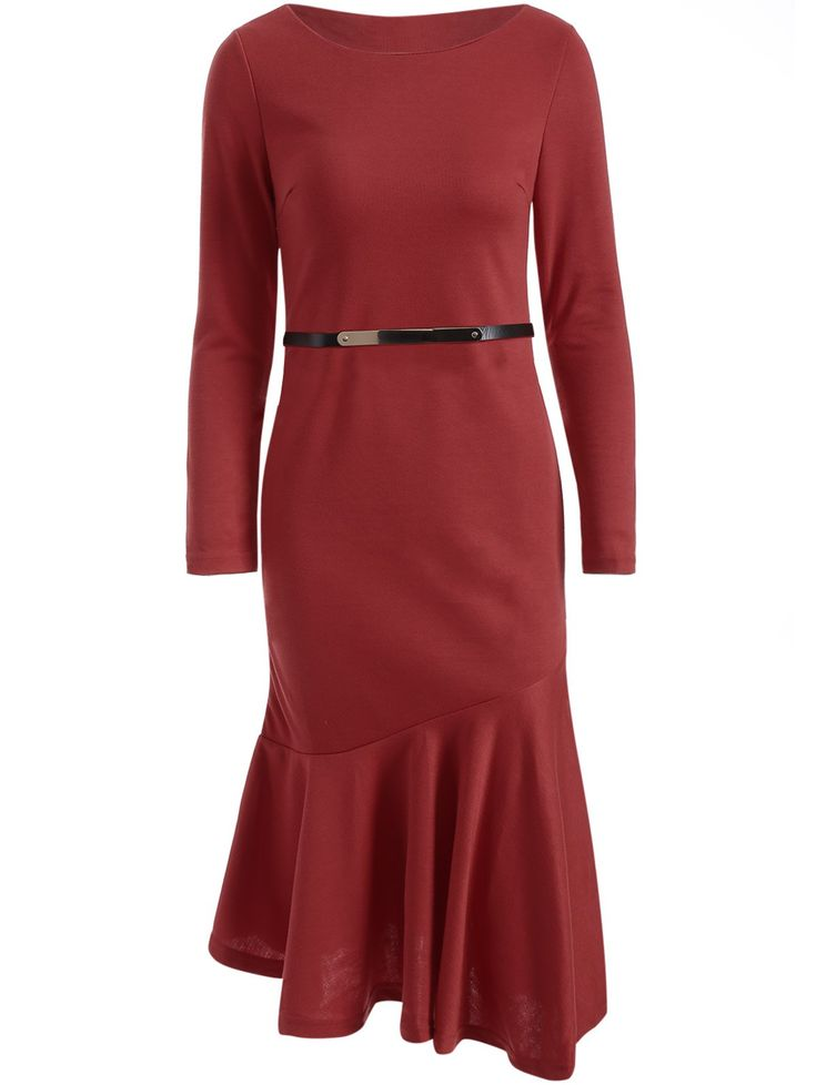 Belted Fishtail Bodycon Dress in Wine Red   Sammydress.com