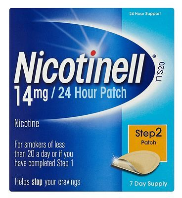 Nicotinell 24 Hour Patch 14mg Step 2 7 Day 32 Advantage card points. An aid to combat the withdrawal symptoms caused by giving up smoking.See details below, always read the labelSuitable for: Adults aged 18 years and over.Active ingredient: Ni http://www.MightGet.com/february-2017-1/nicotinell-24-hour-patch-14mg-step-2-7-day.asp