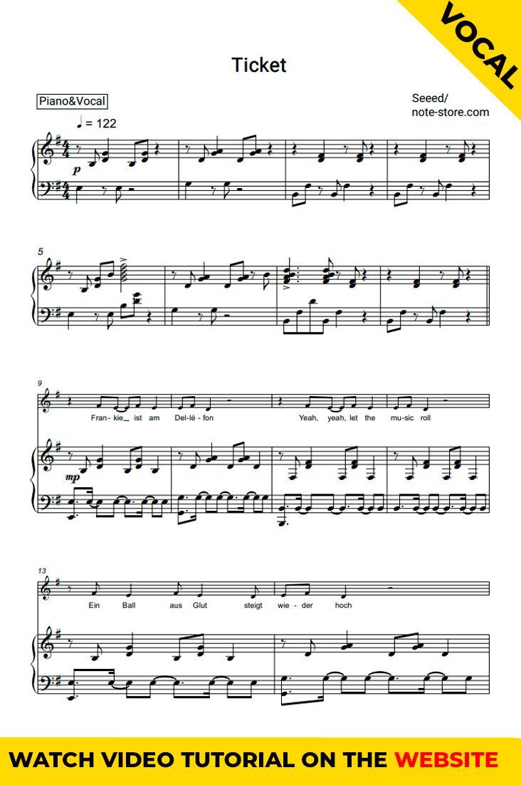 Ticket Piano Vocal Sheet Music Printable Sheet Music Sheet