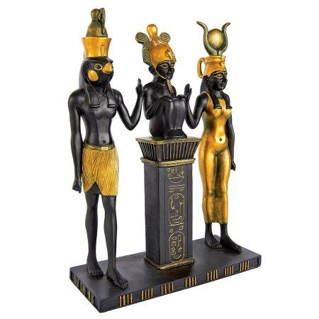 Osiris, Isis and Horus Egyptian Gods Statue, Gold