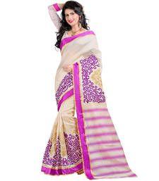 Buy beige embroidered cotton silk Saree with blouse cotton-silk-saree online