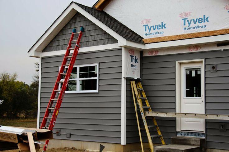 White corners shaker siding in peak dreamy home pinterest for Exterior house peak decorations