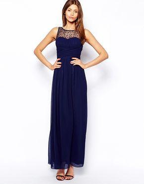 Image 1 ofLittle Mistress Maxi Dress with Embellished Gathered Bodice