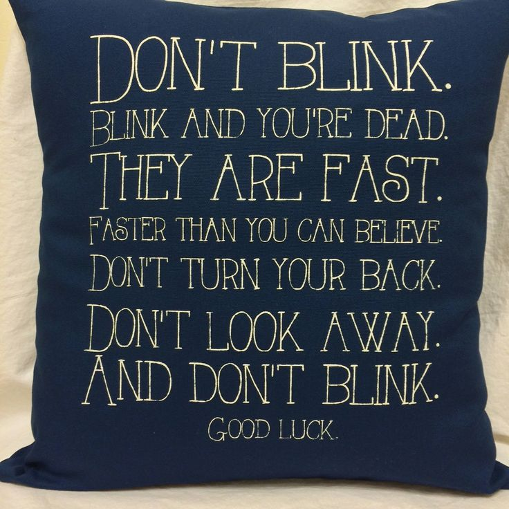 Doctor Who Don't Blink quote pillow cover by CraftEncounters, $32.50