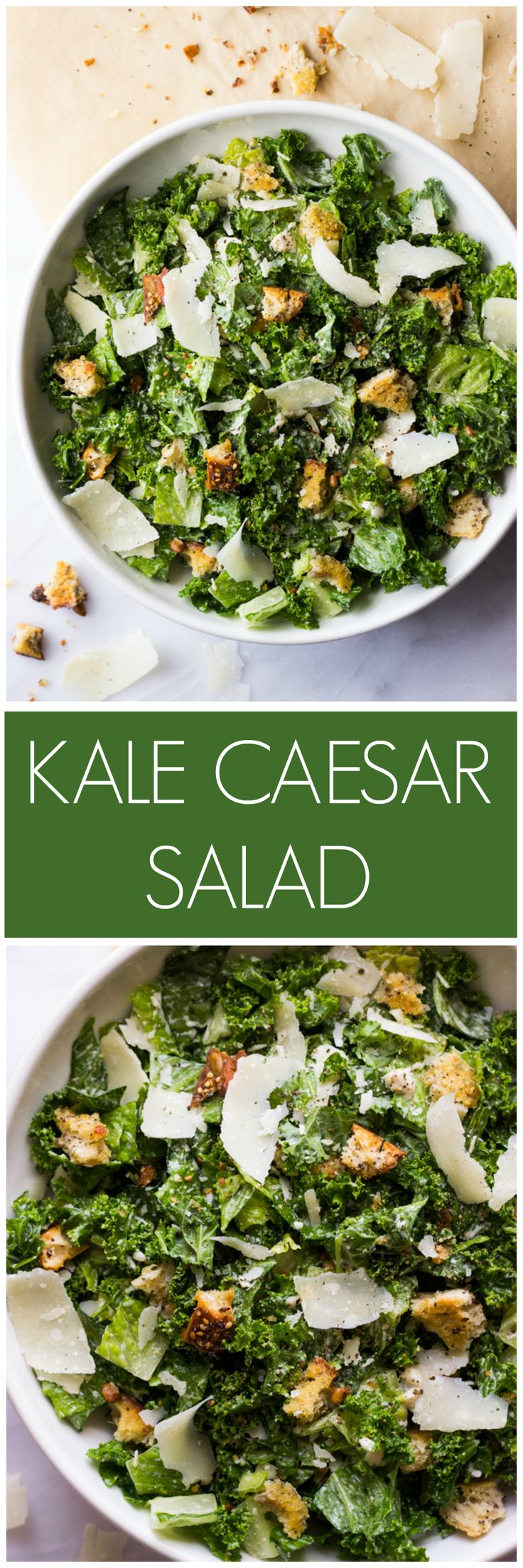 Kale Caesar Salad - nutritious kale and romaine caesar salad with greek yogurt caesar dressing | littlebroken.com @littlebroken