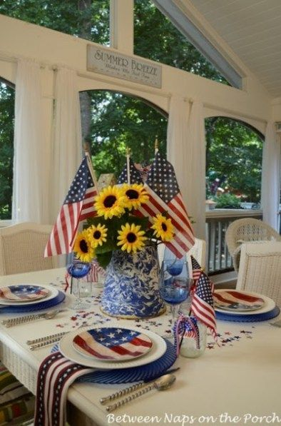 10 Patriotic Tablescapes Patriotic Pinterest 4th Of July