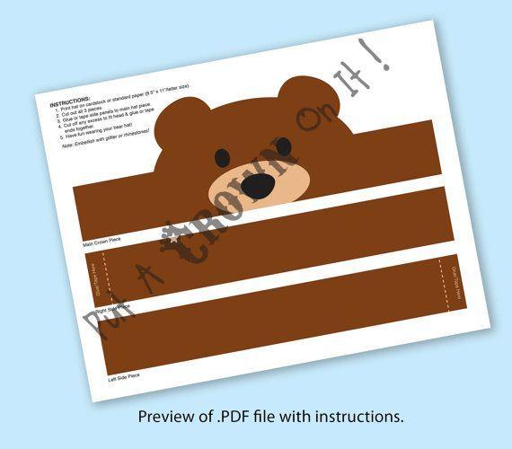 Image Result For Bear Hat Paper Paper Crowns Crown Printable Etsy Printables
