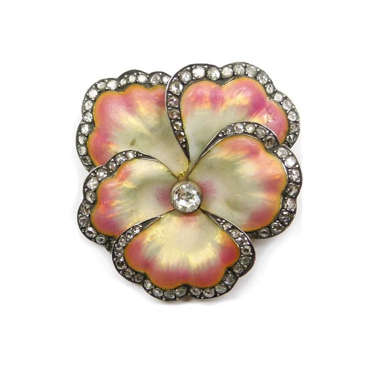 Antique iridescent pink and lemon enamel and diamond pansy brooch, c.1900  , the petals shaded lemon to the middle, set with a rose cut diamond, the rose cut diamond rims, mounted in silver and gold