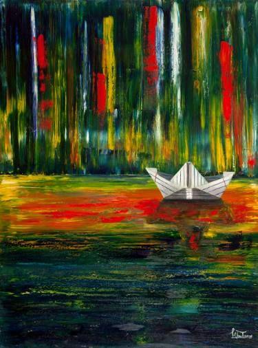 "Saatchi Art Artist Luis Gutierrez; Painting, ""Paper Boat on a Sea Paint #3"" #art"
