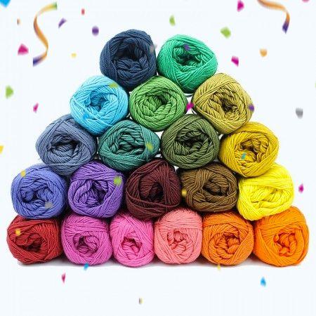 Garnpakke - Cotton 8/4 - Temperatur teppe - 20 farger  Garn