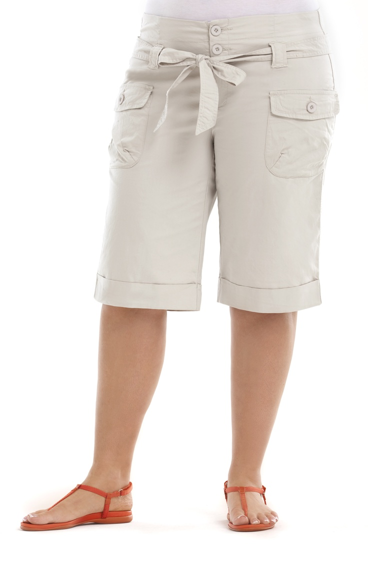 Knee length short with cuffs/Stone            Style No: SH001    Stretch cotton  knee length short with cuffed hem and 3 button front.    This little short has lots of little utility pockets and a self tie belt. #fashion #plussize #2013