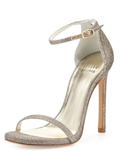 Keepin' It Minimal -- Stuart Weitzman Nudist Ankle-Strap Sandal in Platinum