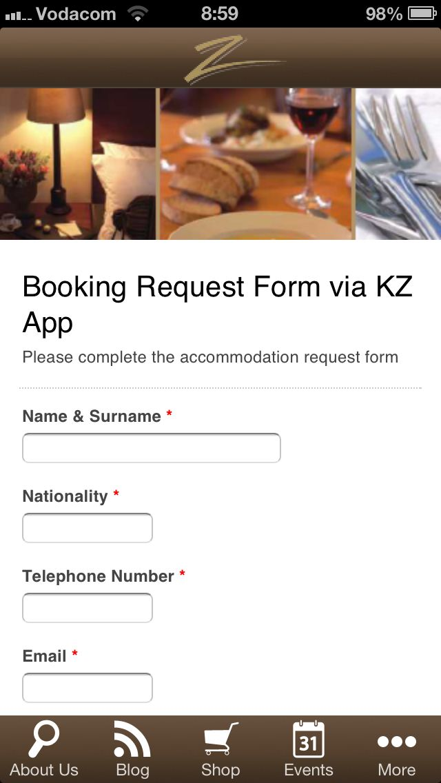 We've added a no obligation booking request form to the Kleine Zalze App. Try it now