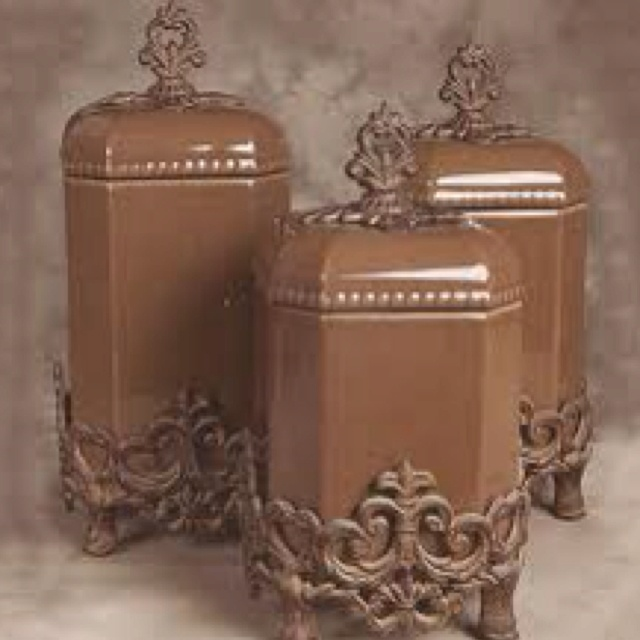 Ceramic Canisters On Wrought Iron Base Perfect Accessories For The Kitchen