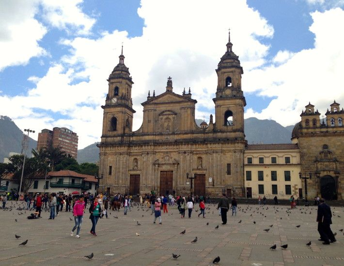 The famous cathedral in Bogota, Colombia's Plaza Bolivar.