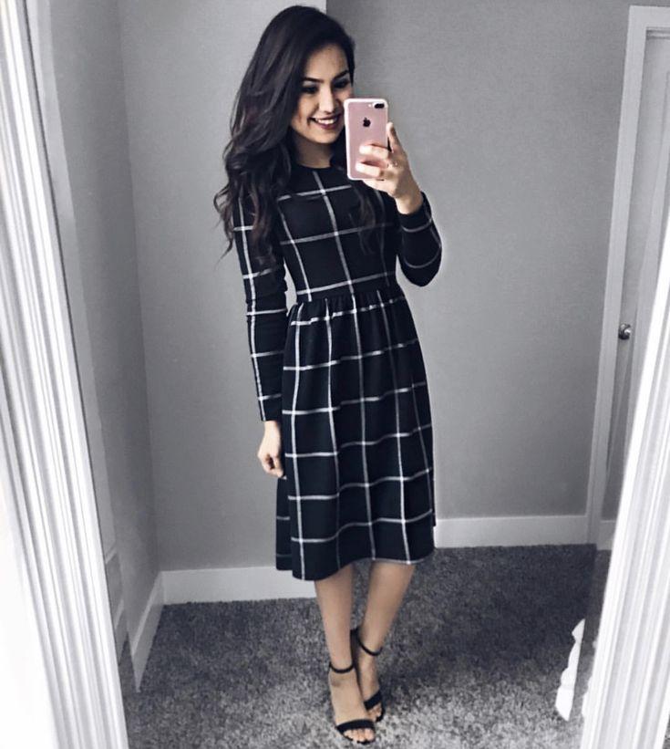 Classy Look Plaid Black Dress Instagram