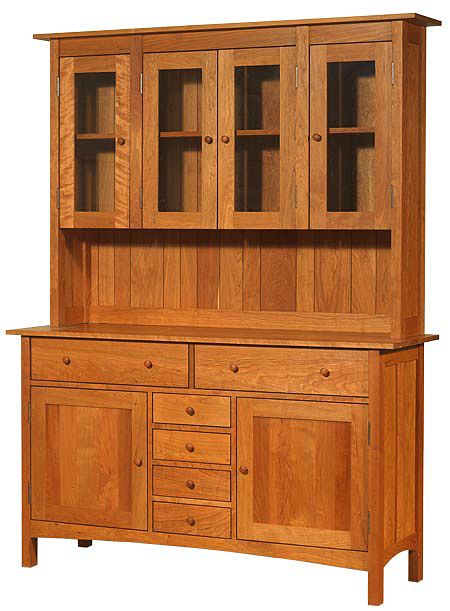 Modern Shaker Large Buffet U0026 Hutch Shown In Natural Cherry Wood.  Handcrafted In Vermont,
