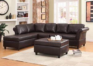 Levan Dark Brown Bi Cast Vinyl Pocket Coil Seat Cushion Sectional Sofa · Sectional  Living RoomsLiving Room ...