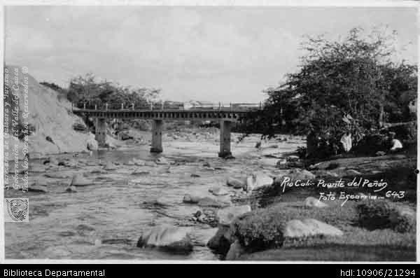 Cali antigua: Río Cali, Puente del Peñón. Santiago de Cali, 1967