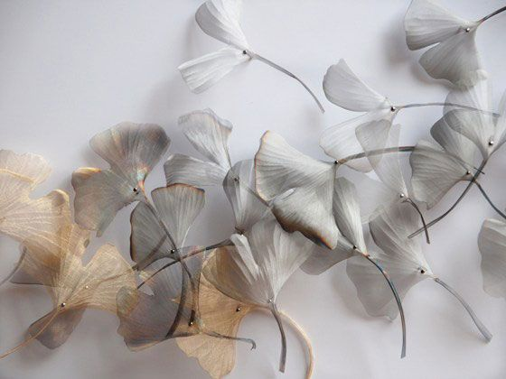 Delicate petals, made of hand woven fine steel by artist Michelle McKinney  www.morgandaviesart.com