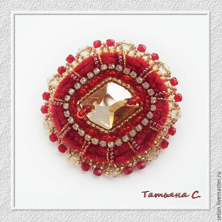 """Купить Брошь """"Индийская невеста"""" - бордовый, красный, красное с золотом, брошь, красивая брошь"""