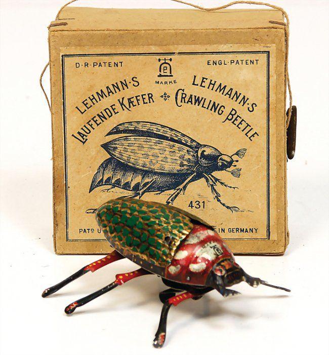LEHMANN running beetle, No. 431, lithographedsheet metal, 10 cm, clock mechanism is intact, good condition, in original box