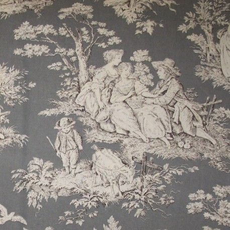 Toile Fontevraud, Tissu toile de Jouy Fontevraud anthracite x 10cm, 2,08 euros, Référence TSTDJ124280C002 http://www.mapetitemercerie.com/fr/toile/11912-tissu-toile-de-jouy-fontevraud-anthracite-x-10cm.html. Like this grey with grey silk taffetta lining.