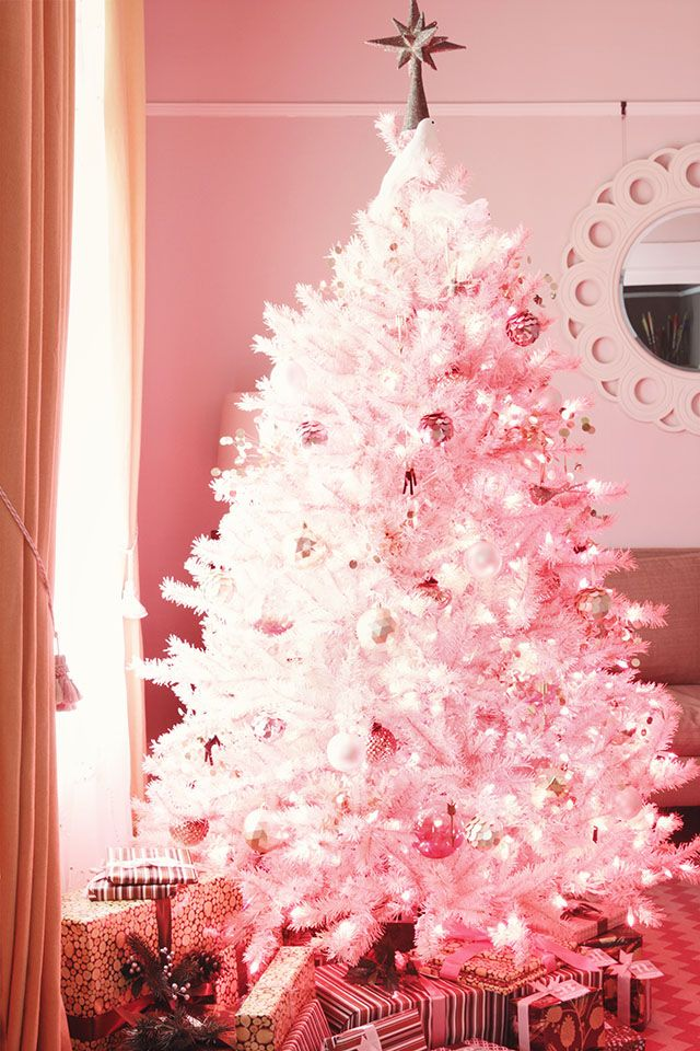 Decoration, Hot Pink Christmas Tree Ideas: Beautiful Pink Christmas Tree  With White Ornaments Pictures Gallery